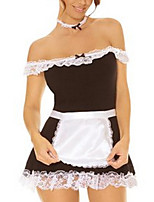 Cosplay Costumes Maid Costumes / Cosplay Movie Cosplay Black Solid Dress / Apron Halloween / Carnival / Oktoberfest Polyester