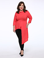 Women's Casual/Daily / Plus Size Simple Loose Dress,Solid Round Neck Knee-length Long Sleeve Blue / White / Orange Cotton Mid Rise