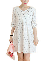 Maternity'S Round Neck Print Loose Long Sleeve White Dress