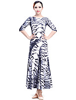 Ballroom Dance Dresses Performance Milk Fiber Pattern/Print 1 Piece Dress