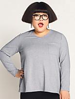 Feminino Camiseta Tamanhos Grandes / Casual Simples Outono,Sólido Cinza Algodão Decote V Manga Longa