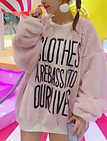 Women's Casual/Daily Simple Long Hoodies,Solid Pink Round Neck Long Sleeve Faux Fur Fall / Winter Medium Micro-elastic