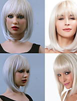 Trendy Synthetic Wigs Bob Wig Neat Bang Silver White Wigs Kanekalon Women's Hair Heat Resistant