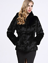 BF-Fur Style Women's Casual/Daily Sophisticated Fur CoatSolid Hooded Long Sleeve Winter White / Black Rabbit Fur