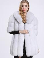 Женский На каждый день Однотонный Пальто с мехом Рубашечный воротник,Изысканный Зима Белый Рукав ½,Лисий Мех