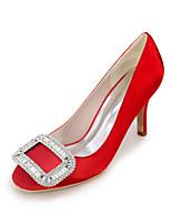 Mujer Zapatos de boda Pump Básico Primavera Verano Satén Boda Fiesta y Noche Pedrería Tacón Stiletto Morado Rojo Azul Champaña Marfil7'5