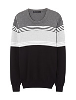 Metersbonwe Men's Casual/Daily Street chic Regular PulloverStriped / Color Block Black / Gray Round Neck Long Sleeve Cotton Winter Thick