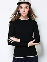 Women's Casual/Daily Plus Size Simple Regular Pullover,Solid White Black Round Neck Long Sleeve Polyester Fall Winter Medium Micro-elastic