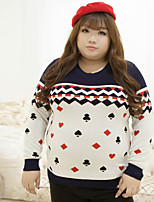 Women's Casual/Daily Plus Size Simple Regular Pullover,Embroidered White Round Neck Long Sleeve Cotton Polyester Winter Medium