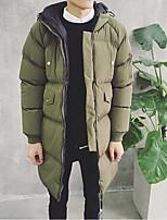 Manteau Rembourré Hommes,Long simple Sortie / Décontracté / Quotidien Couleur Pleine-Polyester Polypropylène Manches Longues Noir / Vert