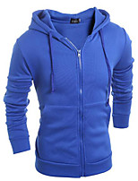 Men's Plus Size Casual/Daily Sports Active Simple Hoodie Solid Micro-elastic Cotton Long Sleeve Fall