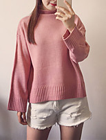 Women's Going out / Casual/Daily Cute Regular Pullover,Solid Pink Boat Neck Long Sleeve Polyester All Seasons Medium Micro-elastic