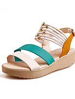 Women's Sandals Summer Mary Jane PU Outdoor Casual Flat Heel Buckle Others Black Blue Green