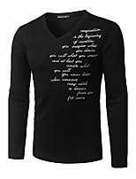 Men's Casual/Daily Simple All Seasons T-shirtLetter Round Neck Long Sleeve White / Black / Gray Cotton Medium