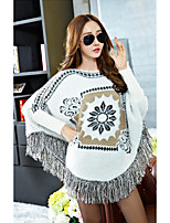 Women's Casual/Daily Simple Regular Cloak / Capes,Print White Round Neck Long Sleeve Polyester Fall Winter Medium Micro-elastic
