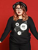 Tee-shirt Femme,Lettre Décontracté / Quotidien / Grandes Tailles simple Automne / Hiver Manches Longues Col Arrondi NoirPolyester /