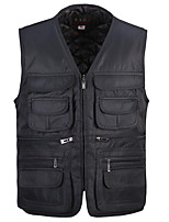Men's Padded Coat,Simple Casual/Daily Solid-Cotton Polypropylene Sleeveless Black / Green