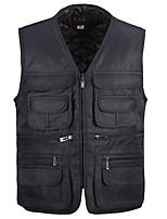 Пальто Простое На подкладке Мужчины,Однотонный На каждый день Хлопок Полипропилен,Без рукавов Черный / Зеленый
