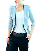 Casual/Daily Vintage Blazer,Solid Asymmetrical Long Sleeve Black / Gray