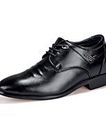 Черный-Мужской-Повседневный-Полиуретан-На низком каблуке-Удобная обувь-Туфли на шнуровке