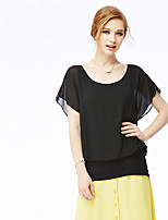 NAKED ZEBRA Women's Casual Street chic Summer BlouseSolid Round Neck Short Sleeve Black Polyester