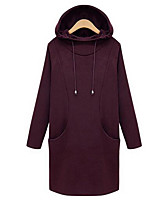 Women's Plus Size / Casual/Daily Simple Regular Hoodies,Solid Red / Black Hooded Long Sleeve Cotton Fall / Winter Medium Micro-elastic