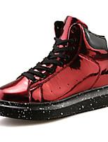 Черный / Красный / Серебристый-Женский-На каждый день-Полиуретан-На плоской подошве-Удобная обувь-Ботинки