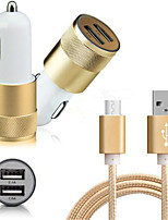 Dual Smart USB Quick Car Charger  1.5m Micro USB Cable for Samsung Huawei Xiaomi and Other cellphone(5V2.1A)