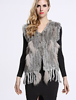 BF-Fur Style Women's Casual/Daily Sophisticated Fur CoatSolid V Neck Sleeveless Winter Black / Gray / Yellow Rabbit Fur
