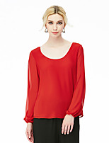 NAKED ZEBRA  Women's Casual Street chic Spring BlouseSolid Round Neck Long Sleeve Red / Black Polyester