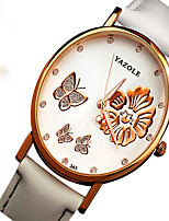 YAZOLE Luminous Waterproof Butterfly Flowers Wedding Leisure Lady Women Leather Quartz Watch WristWatch