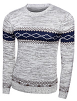 Men's Casual Slim Striped Diamond Knitted Pullover O Neck Long Sleeve Cotton Fall / Winter Medium Micro-elastic