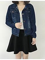 Женский На каждый день Однотонный Джинсовые куртки Рубашечный воротник,Простое Весна / Осень Синий Длинный рукав,Другое,Средняя