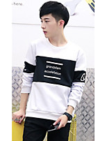 Men's Casual/Daily Simple Regular Hoodies,Letter Blue / White / Black Stand Long Sleeve Cotton Fall Medium Micro-elastic