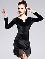 Latin Dance Dresses Women's Training Velvet Tassel(s) 1 Piece Black Latin Dance Long Sleeve Natural Dress No Belt