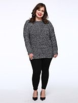 Women's Casual/Daily Simple Regular Pullover,Solid Red White Black Gray Green Round Neck Long Sleeve Acrylic Medium Micro-elastic