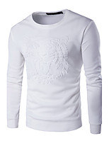 Men's Plus Size Casual/Daily Simple Sweatshirt Solid Round Neck Micro-elastic Cotton Long Sleeve Fall Winter