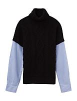 Женский На каждый день Уличный стиль Обычный Пуловер Контрастных цветов,Черный Хомут Длинный рукав Акрил Зима Толстая Слабоэластичная