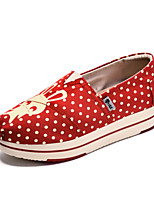 Синий Красный-Женский-Повседневный-Полотно-На плоской подошве-Удобная обувь-Мокасины и Свитер