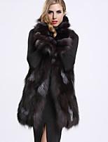 BF-Fur Style Women's Casual/Daily Sophisticated Fur CoatSolid Shirt Collar Sleeveless Winter Black Fox Fur