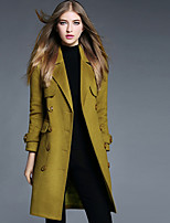 Women's Casual/Daily Simple Coat,Solid Long Sleeve Fall / Winter Green Polyester