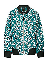 Metersbonwe Men's Casual/Daily Street chic JacketsPrint Stand Long Sleeve Fall Green Polyester Medium