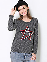 Women's Casual/Daily Simple Regular Pullover,Print Gray Round Neck Long Sleeve Polyester Fall Medium Micro-elastic