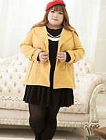KELIXUAN Women's Casual/Daily Vintage CoatSolid Peaked Lapel Long Sleeve Winter Yellow Cotton Medium