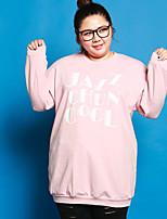 Tee-shirt Femme,Lettre Décontracté / Quotidien / Grandes Tailles simple Automne Manches Longues Col Arrondi Rose Coton / Spandex
