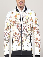 Men's Casual/Daily / Holiday Florals / Simple Jackets,Jacquard Standing Collar Long Sleeve Fall / Winter White Polyester Medium