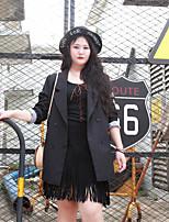 NININIU Women's Casual/Daily / Plus Size Simple CoatSolid / Letter Notch Lapel Long Sleeve Fall / Winter Black Polyester Medium