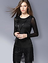 Women's Going out / Work Sexy / Street chic Spring T-shirt,Solid / Patchwork Round Neck Long Sleeve Blue / BlackPolyester / Nylon /