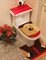 Quality Flannel Seat Cover & Rug Foot Pad Water Tank Set  Towel Cover Bathroom Se Santa Claus Christmas Ornament