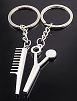 Stainless Steel Wedding Keychain Favors-1 Piece/Set Couples Keychains Non-personalised Scissors Comb Design Valentine's Day